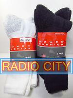Power Cushion Socks Cushioned Crew Cotton 3-Pack Black or White Sizes M L XL