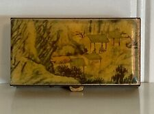 Vintage Metal Pill Box with Enamel Top Depicting Park Drawing (latch works)