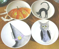 New Rae Dunn Halloween Cat-Owl-Pumpkin-RARE Witch's Hat w/Lavender Plate Set-HTF