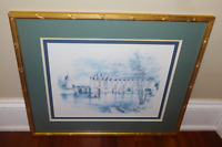 "RARE French Painting Print by Jegai ""CHATEAU DE CHENONCEAU"" Framed and Matted"