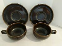 Vintage Russel Wright American Modern Black Chutney 2 Coffee Tea Cups & Saucers