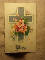 Vintage Postcard Easter Greetings, Cross With Pink Flowers
