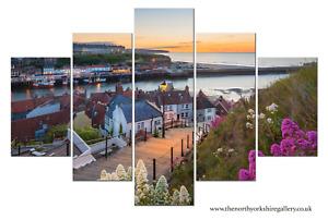 Whitby 199 Steps 5PCS Large Wall Art Photography Yorkshire Coast Canvas Print