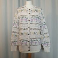 M&S St Michael Vintage Cream Knitted Floral Cardigan (UK Size 12) Cottagecore