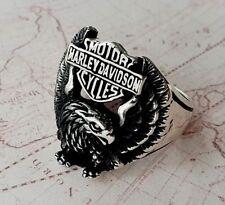 Eagle Harley Davidson Motorcycle Logo Mens Ring Solid 925 K Sterling Silver