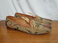Talbots Needlepoint Tapestry Loafer Slip-On Flats Shoes Pineapple Themed - Sz 8B