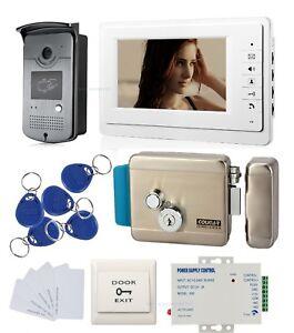7`` LCD Video Door Phone Intercom System video Doorbell kit & Control Lock +PSU