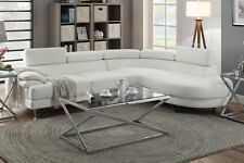 Poundex F6985 White Bonded Leather Sectional Sofa White Color