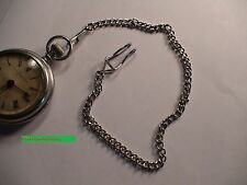 "NEW,Silver Color Toned Steel,POCKET WATCH CHAIN,Clip-belt clip end,approx 14"" LG"