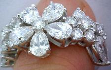 3.30 ct Pear shape & Round Diamond Ring 14k Gold Floral Band Gia cert. E-F Vvs