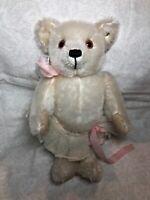 "11"" Steiff Teddy Bear White Mohair Michelle Clise Baby Ophelia W/ Ear Button #BB"