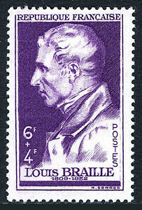 France B222, MvLH. Louis Braille, inventor:Reading & writing for the blind, 1948