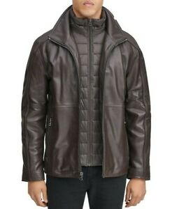 Mark New York Mens Hartz  Leather Jacket With Quilted Bib,Brown/Espresso Size XL
