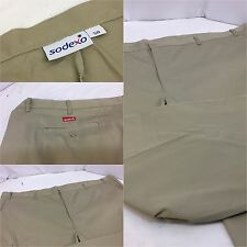 Big Men Khaki Pants 58x32 Tan Cotton Poly Flat Front Sodexo NWOT YGI Y552
