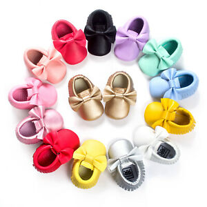 Baby Fringe Bow shoes Newborn PU Leather First Walkers Boy Girl Baby Moccasins