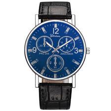 Fashion Men Steel Quartz Watch Black White Leather Band Analog Wristwatch