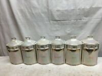 Vintage 6pc Ceramic Kitchen Canister set German Lusterware Canisters 8in x 4in x