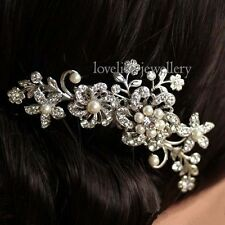 Bridal Wedding Flower Crystal Rhinestones Pearls Women Hair Clip Comb Diamante