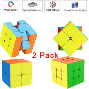 2 Pack Fast Speed Cubes 3x3/ 2x2 Rubiks Magic Cube Smooth Puzzles Twist Gift Toy