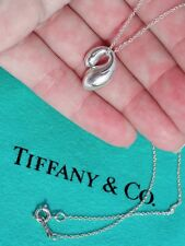 Tiffany & Co Elsa Peretti Doble Lágrima Colgante de Plata de Ley Collar 40.6cm