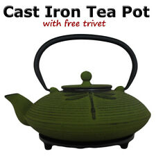 Tea Pot Cast Iron Dragonfly Green 770ml with Fine Hobnail Trivet - New