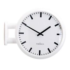 Modern Art Design Double Sided Wall Clock Station Clock Home Decor - MDCLineWH