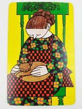 Vintage 1960s Faroy Postcard - Woman sitting on green chair petting cat