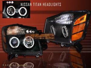 FIT 04 05 06 07 TITAN ARMADA PROJECTOR HEADLIGHTS  BLACK CCFL TWO HALO LED
