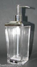 NEW-HOTEL BALFOUR GLASS+SILVER TONE PUMP KITCHEN,BATH SOAP,LOTION DISPENSER