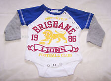 Brisbane Lions AFL Boys White Blue Printed Long Sleeve Romper Size 0 New