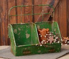 Double BIN Box Basket*Galvanized Metal*Distressed Green*Industrial Locker Style