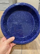 "Monmouth Western Stoneware Pottery 10"" PIE PLATE Blue Farmhouse Marked USA 3631"