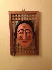 Japanese framed wood mask hand carved  woman art Japan folklore