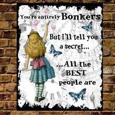 Personalised Metal Alice in Wonderland Bonkers Vintage Sign ANY NAME Xmas Gift