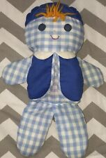 Vintage Fisher Price 419 1977 Cholly Rattle Boy Doll Blue/White Gingham Checks
