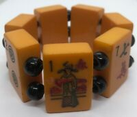 Bakelite Vintage Bracelet Mahjong Tile Jan Carlin Signed Bead Stretch 75 Grams