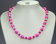 """Bright pink /cerise glass bead crystal necklace, silver stardust spacers 20""""+2"""