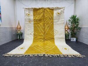 "Moroccan Handmade Beni Ourain Rug 6'7""x10'2"" Berber Geometric White Yellow Rug"