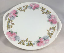 """Two Handled Cake Plate Antique Gold Pink Roses RS Prussia Germany Green 10"""" Rose"""