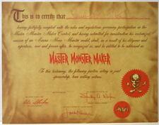 MASTER MONSTER MAKER AWARD & ENTRY FORM of FORREST J ACKERMAN 11/24/90
