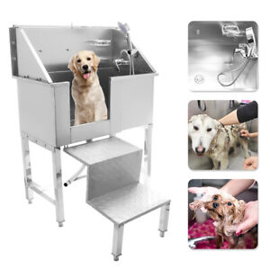"""34"""" Pet Dog Cat Bathing Wash Shower Grooming Bath Tub Stainless Steel w/Stairs"""
