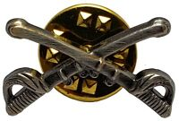 """US ARMY Mini Cavalry Branch Crossed Sabers OXIDIZED 1"""" Insignia Hat Pin"""