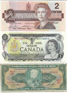 BANK NOTES. One Dollar 1973 & 2 dollars 1986 and one from Brazil