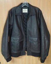 Mens Abercrombie & Fitch 1892 Collection Leather Bomber Flight Jacket Coat ~ XL