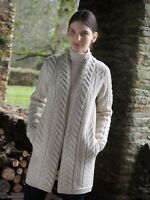 Aran Crafts Natural Super Soft Irish Made Merino Wool Cardigan Coat Jacket X4693