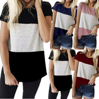 Women Ladies Casual Short Sleeve T Shirt Blouse Striped Summer Loose Cotton Tops