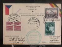 1937 Bruxelles Belgium First Flight Postcard Cover FFC to Prague Czech Re SABENA
