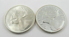 PQ-2 CANADA 1957 & 1958 25 CENTS QUEEN ELIZABETH.CHOICE UNCIRCULATED SEE PICTURE