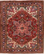 Holiday Select Geometric RED Heriz Serapi Wool Area Rug Hand-Knotted Carpet 5x7