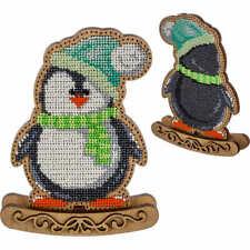 "DIY Christmas toy kit ""Penguin"" , Xmas tree beading embroidery, wood decor"